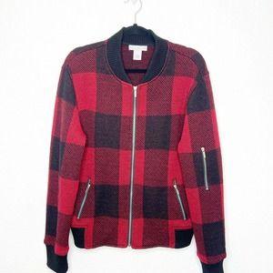 Keren Hart 100% Wool Plaid Bomber Style Shacket XL